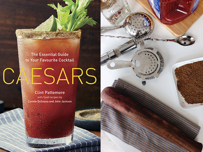 Caesars: The Essential Guide to Your Favourite Cocktail by Clint Pattemore, left, and Pattemore's bar tools