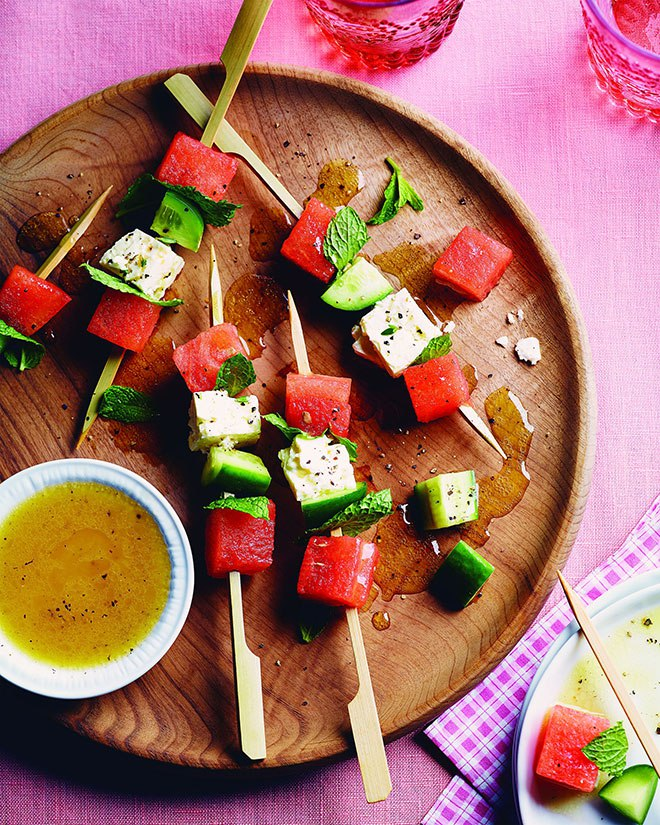 Summer Melon & Marinated Feta Skewers with Mint