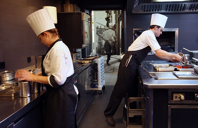 Employees of El Celler de Can Roca work in the restaurant's kitchen in Girona, Spain on April 30, 2013.