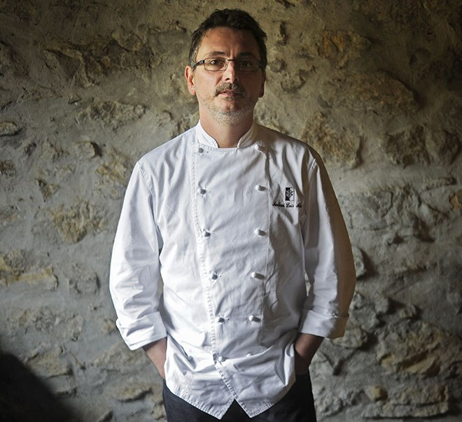 Chef Andoni Luis Aduriz poses in his restaurant Mugaritz in the northern Spanish Basque village of Errenteria on May 9, 2014.