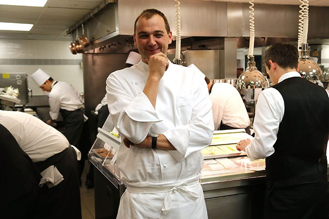 Chef Daniel Humm in the kitchen at Eleven Madison Park on February 27, 2013 in New York.
