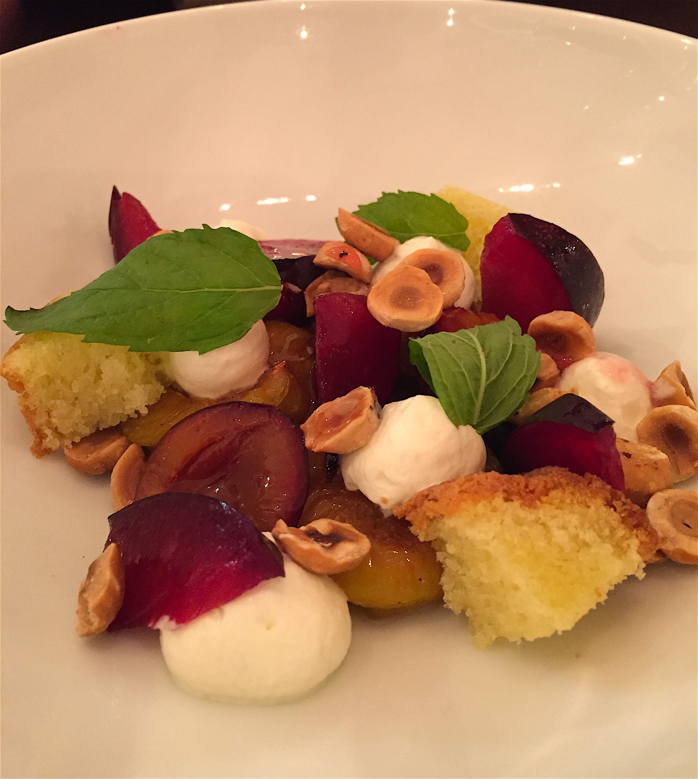 Eels - desserts of roasted plums@ Alexander Lobrano