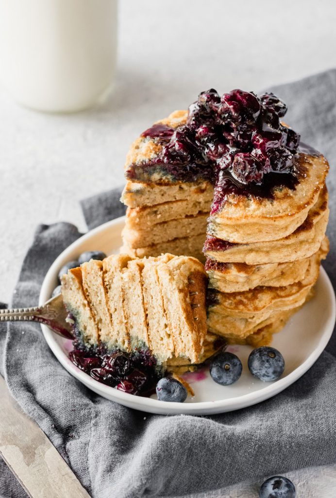 Fluffy coconut flour pancakes with wild blueberry maple syrup amazing paleo banana coconut flour pancakes served with fresh wild blueberry maple syrup so delicious ccuart Gallery