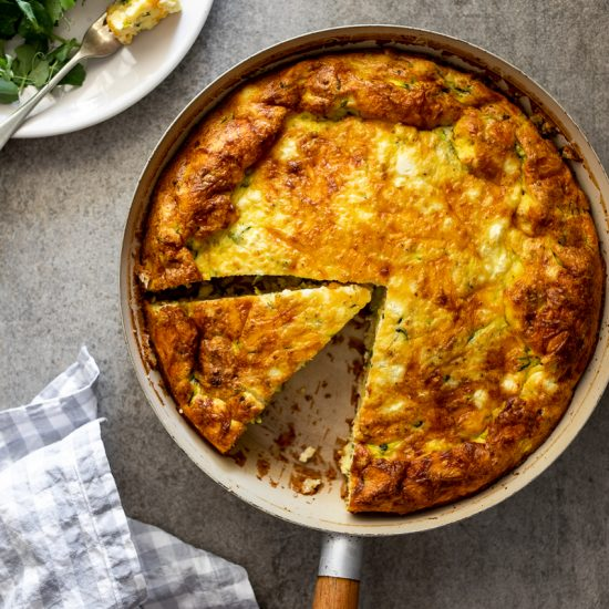 Zucchini feta crustless quiche