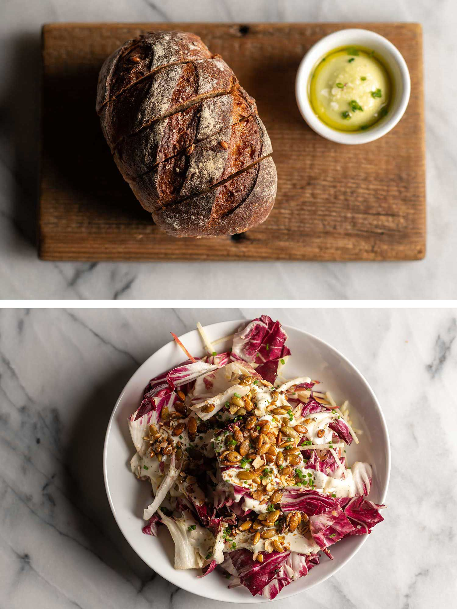 Emmer sourdough and radicchio salad with preserved lemon ranch dressing were full of fermented goodness.