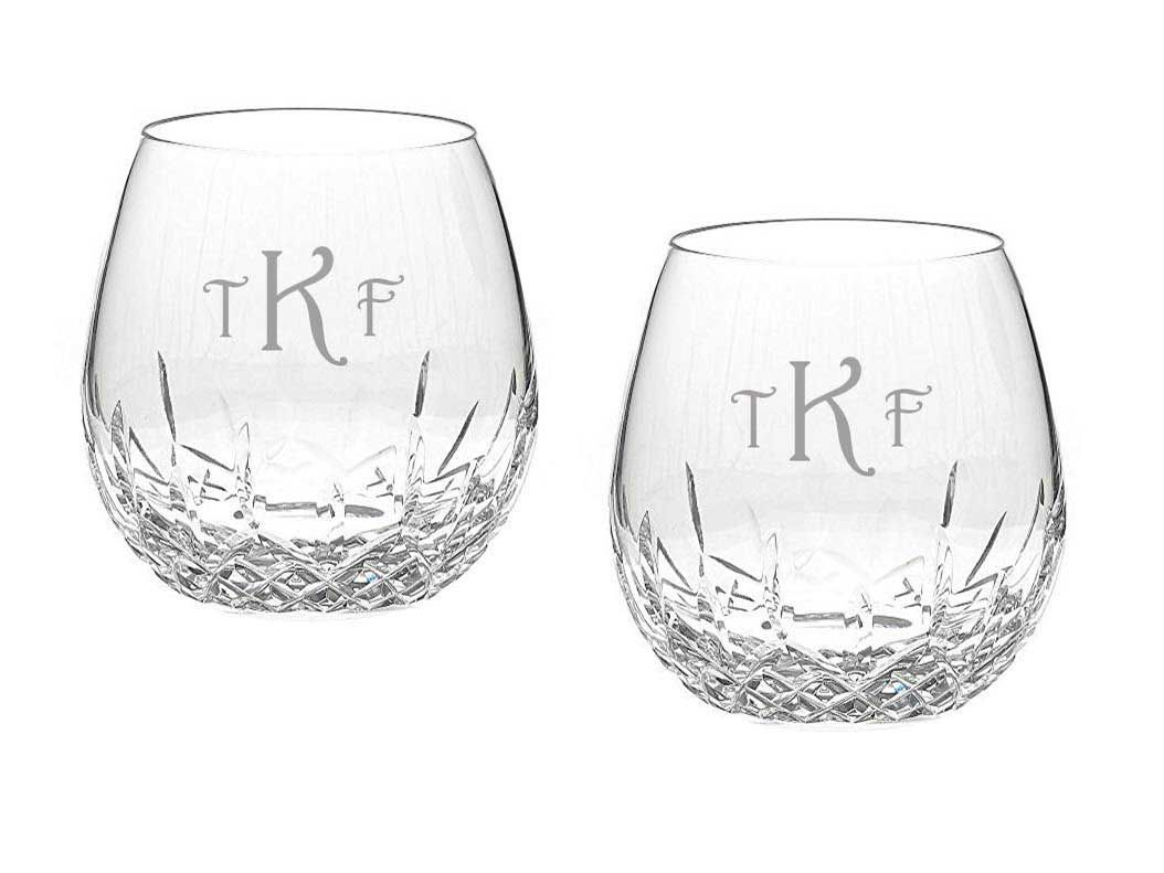 A nicely weighted pair of Waterford glasses with deep etching and optional engraving.