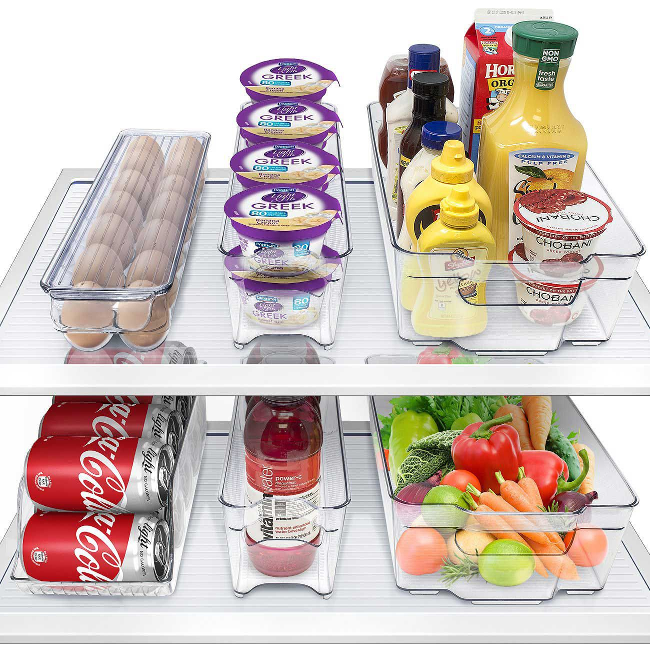 For a total fridge reboot, this stackable container set will keep food organized and in-view.