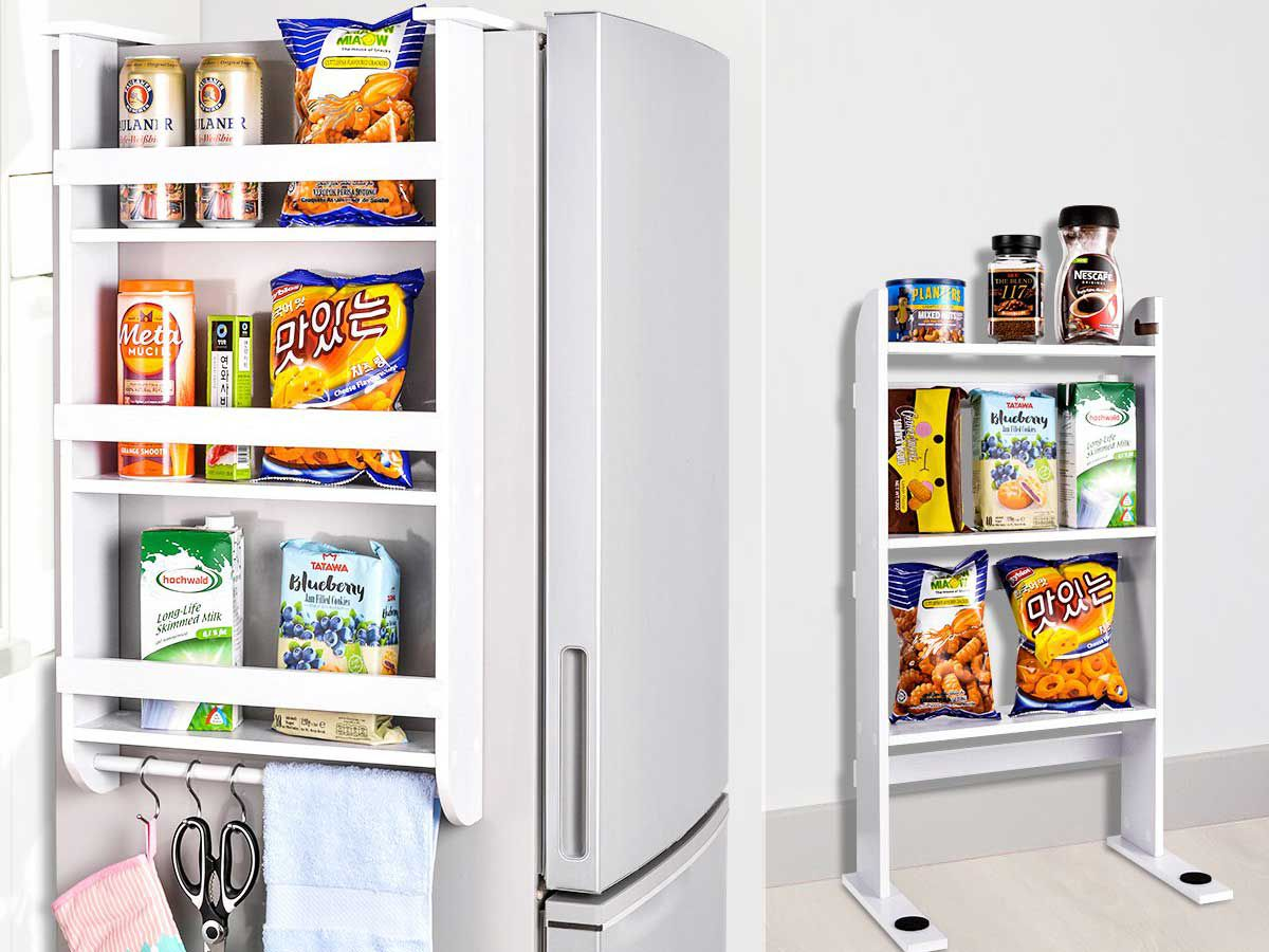 This shelving unit hangs over the side of your fridge to give you some much-needed extra pantry space.