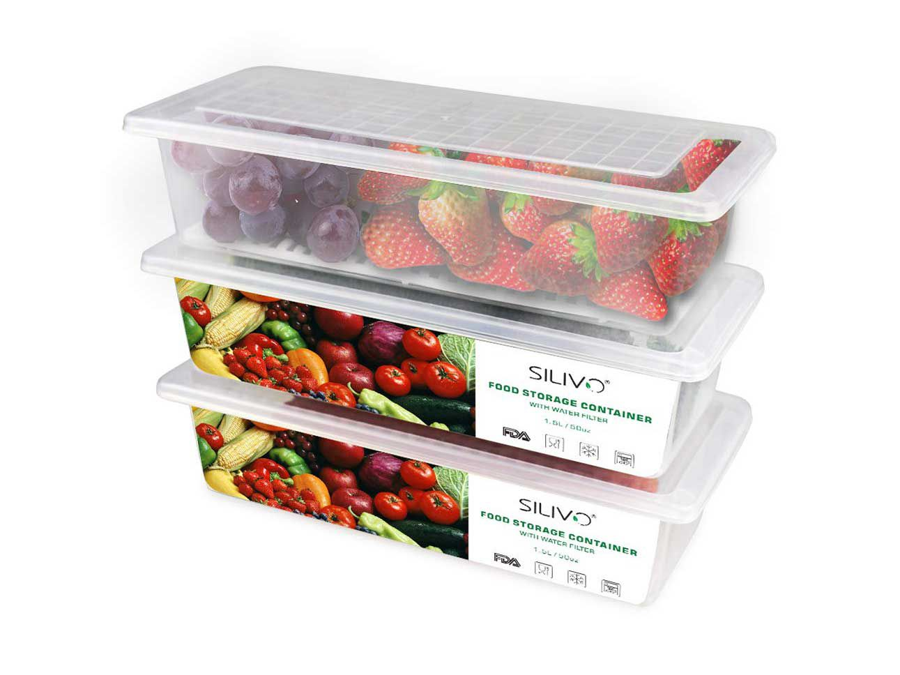 Removable drain plates keep moisture away from produce, which can help slow down spoilage.
