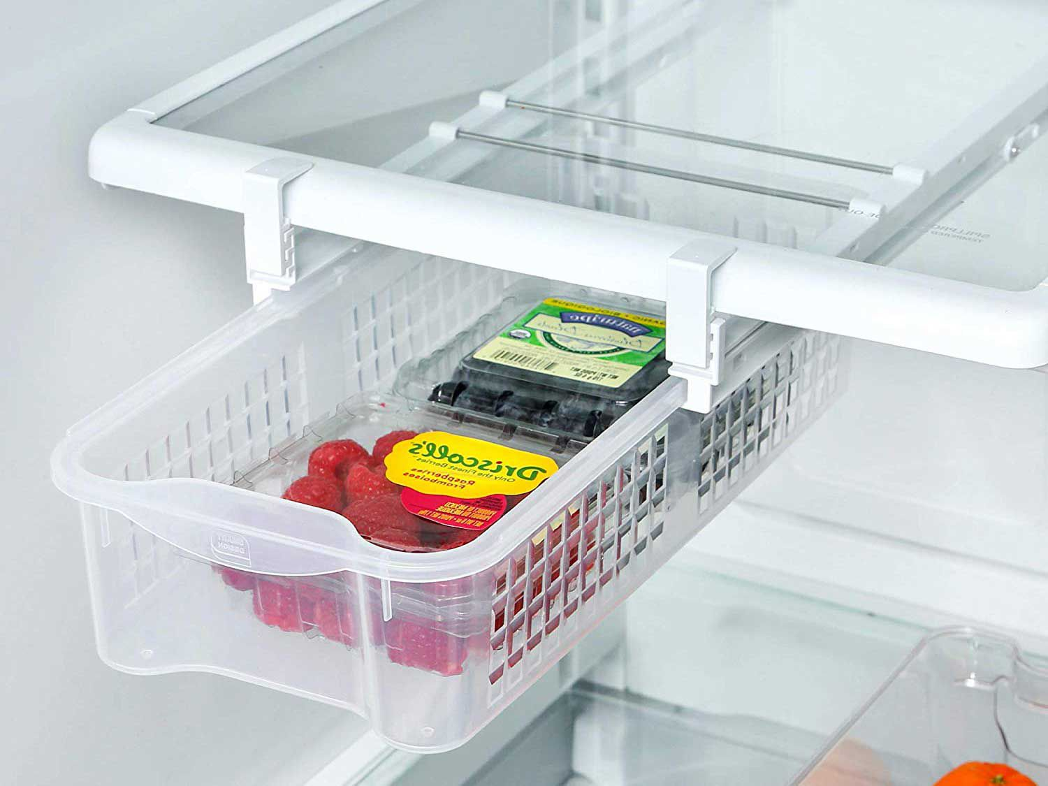 Need an extra drawer? This pull-out bin is easy to install on your existing fridge shelves and holds up to 20 pounds.