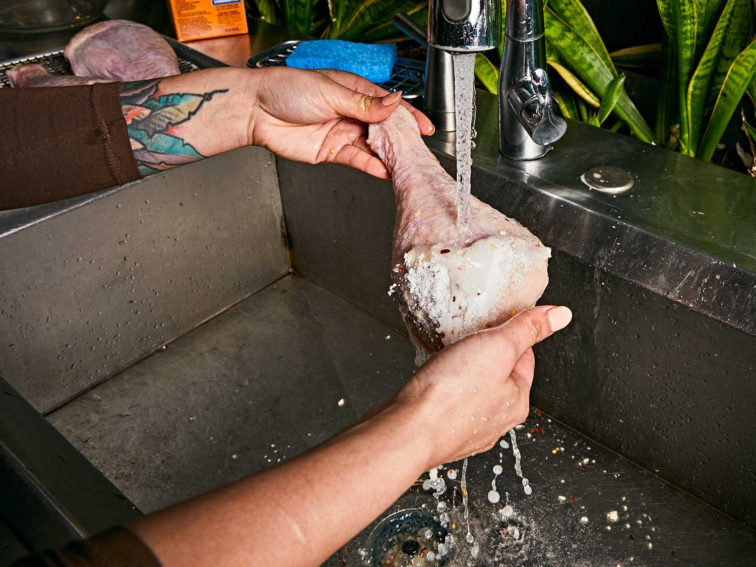 Remove the dry brine with plenty of cold running water.