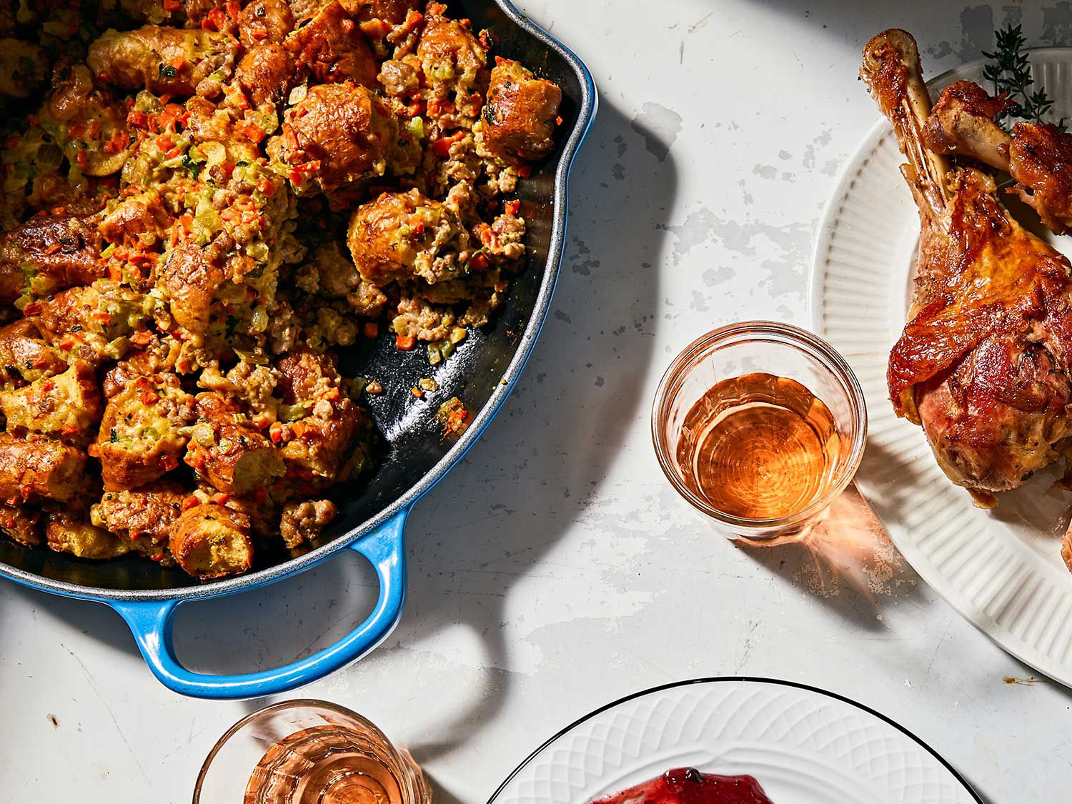Day-old soft pretzels give this stuffing a satisfying chew.
