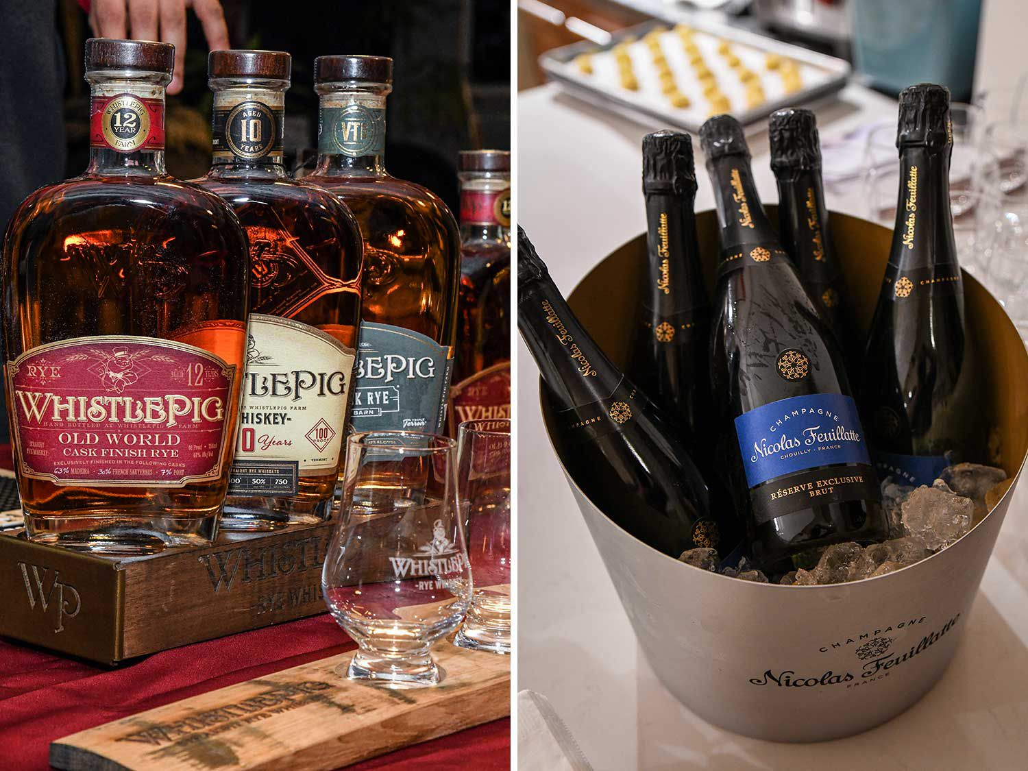 """<a href=""""https://whistlepigwhiskey.com/"""">WhistlePig Whiskey</a> supplied guests with rye whiskey, as well as a signature Preakness cocktail. <a href=""""https://www.nicolas-feuillatte.com/en-us"""">Champagne Nicolas Feuillatte</a> provided the bubbles."""