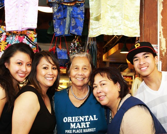 The family behind Oriental Mart: Mila Apostol (center) with granddaughter Brianna Joy Mori and daughter Joy Mori (left) and daughter Leila Rosas and grandson Jordan Rosas (right).