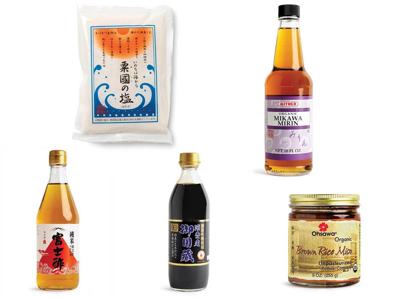 Clockwise from top left: Aguni-jima Salt; Mitoku Mikawa Mirin; Iio Jozo Rice Vinegar; Yamaki Jozo Organic Soy Sauce; Ohsawa Yamaki Organic Brown Rice Miso.