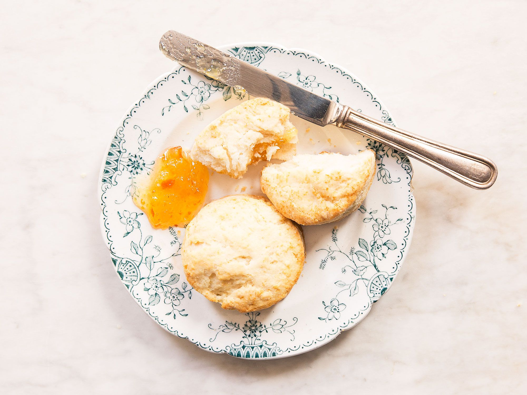 """Powdery fine """"00"""" flour makes for a supremely fluffy biscuit in this simple, four-ingredient recipe. Get the recipe for <a href=""""https://www.saveur.com/ruth-reichls-cream-biscuits-recipe/"""">Ruth Reichl's Easy, 4-Ingredient Cream Biscuits</a>"""