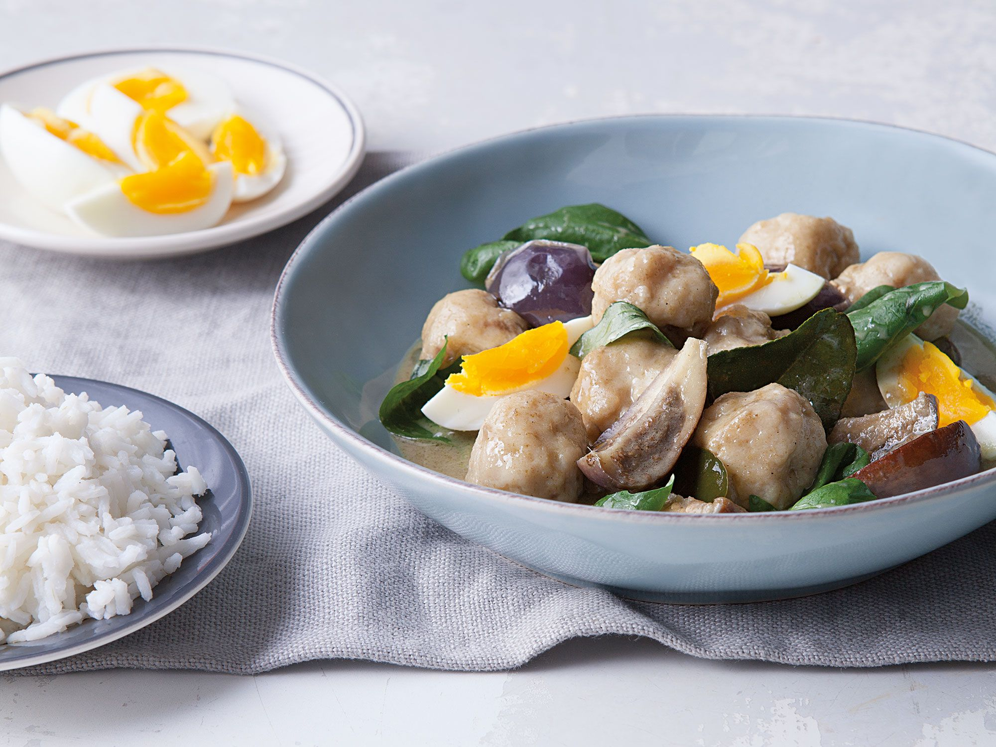 "Thai-style dumplings add a nice, bouncy texture to this green curry. Get the recipe for <a href=""https://www.saveur.com/article/recipes/kaeng-khiaw-waan-green-curry-with-fish-and-eggplant"">Green Curry with Fish and Eggplant (Kaeng Khiaw Waan)</a>"