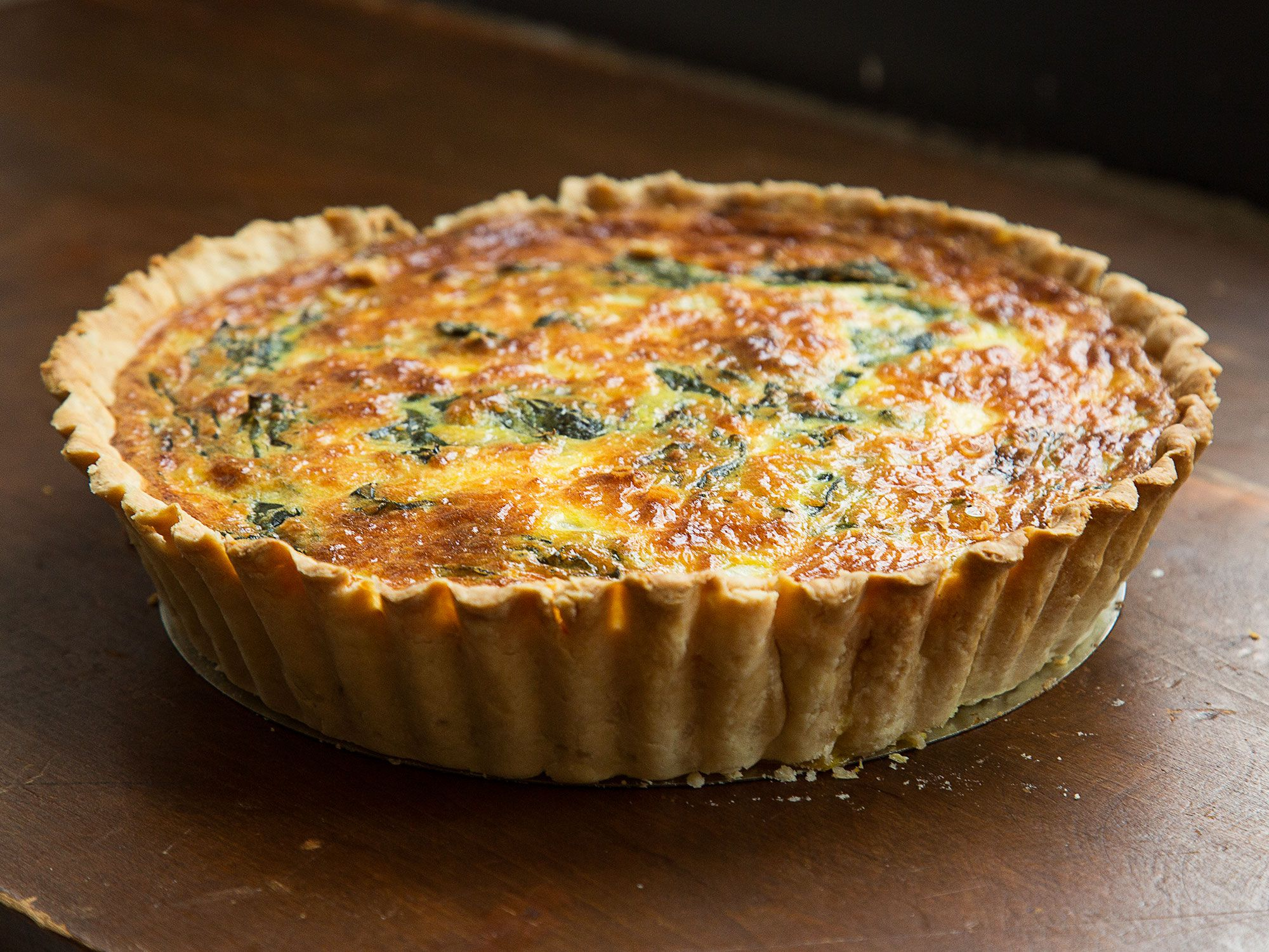 """You can use any leftover cows' milk cheese to make this quiche. Get the recipe for <a href=""""https://www.saveur.com/article/Recipes/After-Farmers-Market-Quiche/"""">After Farmers' Market Quiche</a>"""