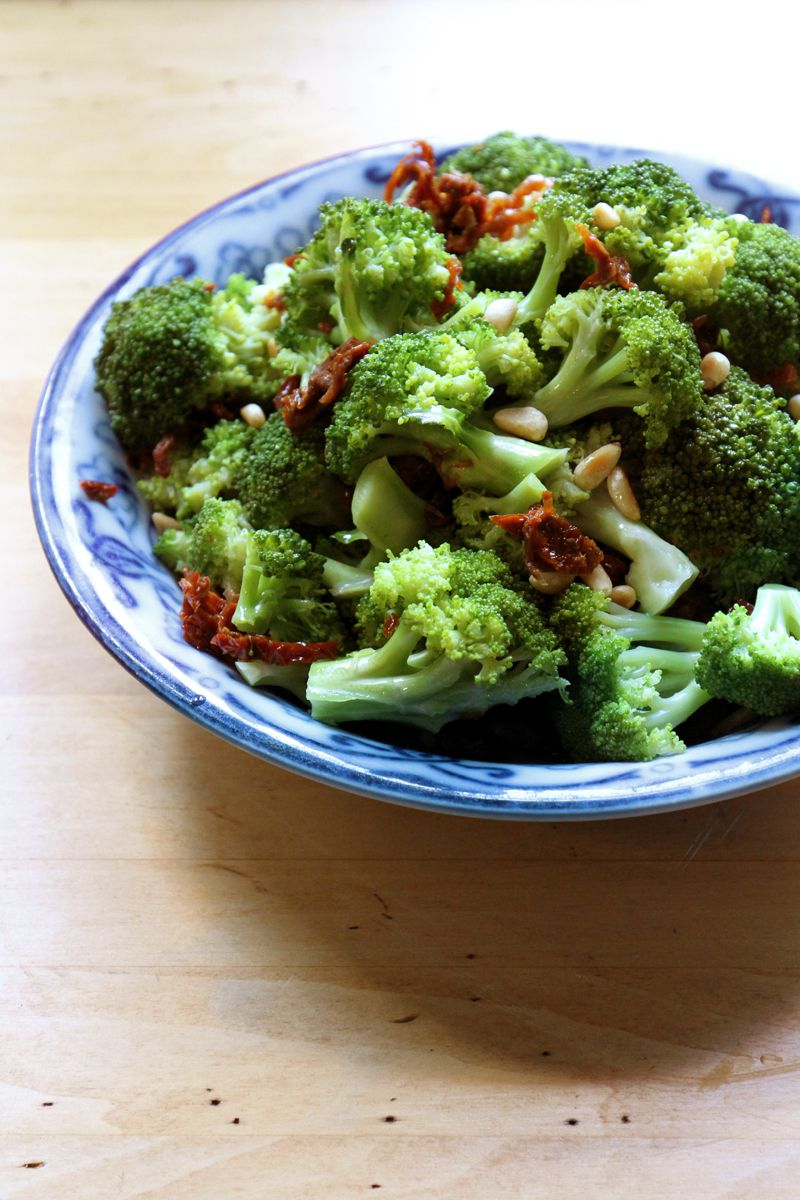 "Sun-dried tomatoes, toasted pine nuts, and a splash of champagne vinegar add a bright punch to a simple side dish of steamed broccoli. Get the recipe for <a href=""https://www.saveur.com/article/recipes/steamed-broccoli-with-sun-dried-tomatoes-and-pine-nuts/"">Steamed Broccoli with Sun-Dried Tomatoes and Pine Nuts</a>"