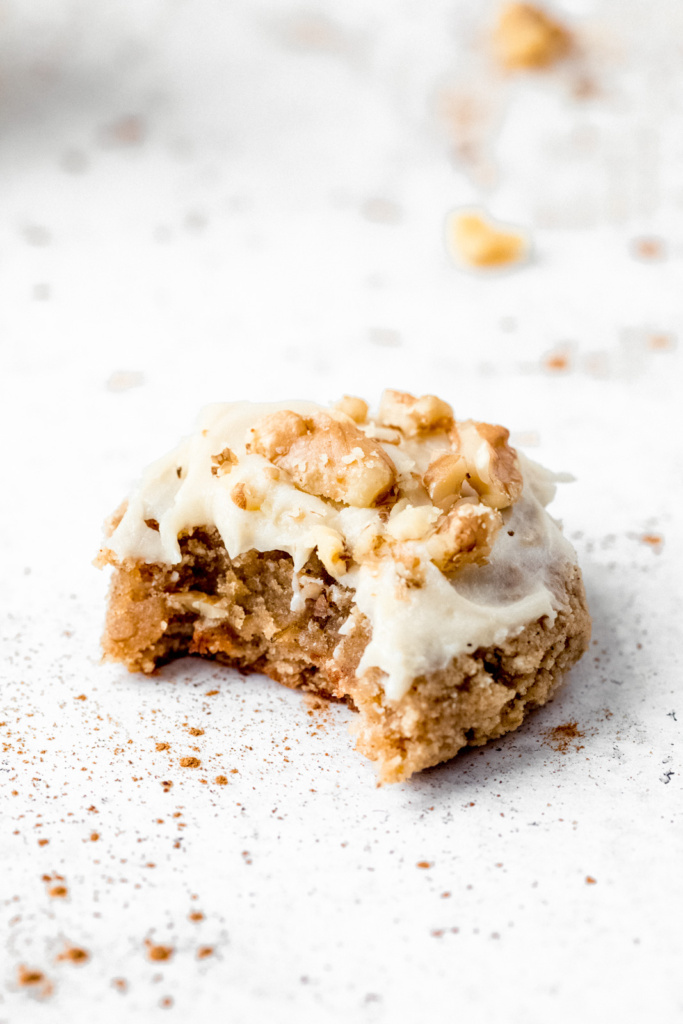 healthy banana cookie with a bite taken out