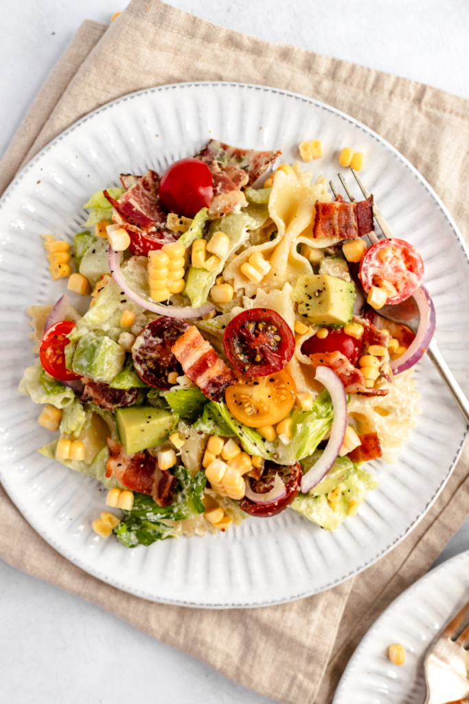 the best BLT pasta salad on a plate