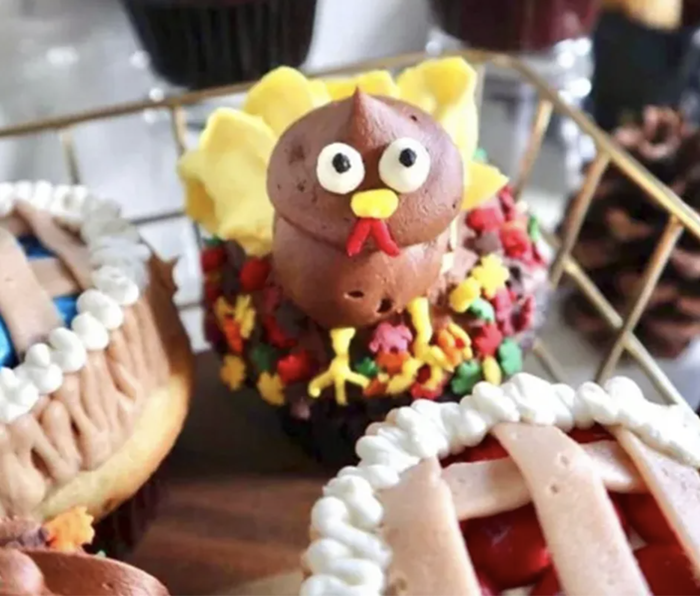 You can still grab some Thanksgiving-themed treats with turkey and pie designs from Trophy Cupcakes.
