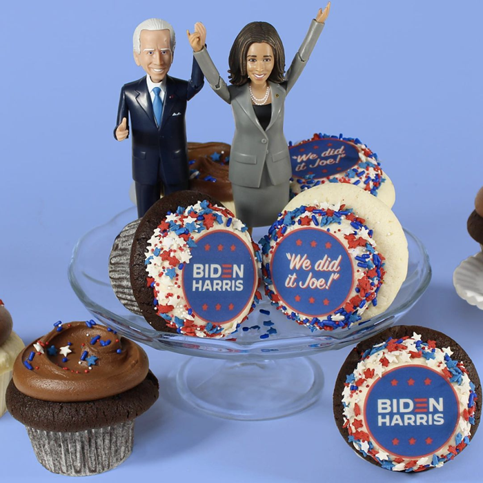 Pick up some themed packs of cupcakes from Cupcake Royale to usher in the Biden/Harris administration.