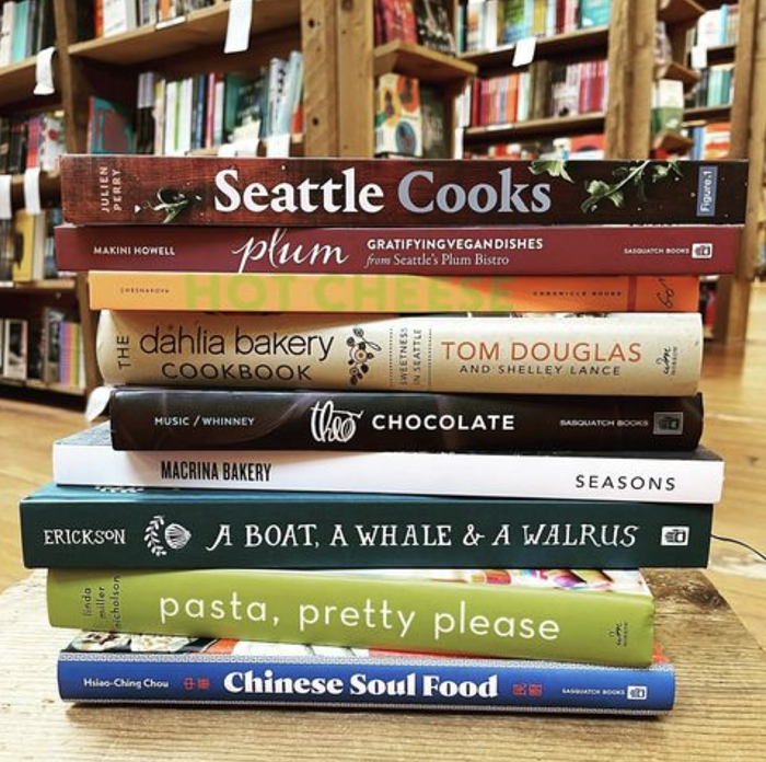 Elliott Bay Book Companys cookbook selection includes lots of titles from local chefs and writers to help you revitalize your home cooking.