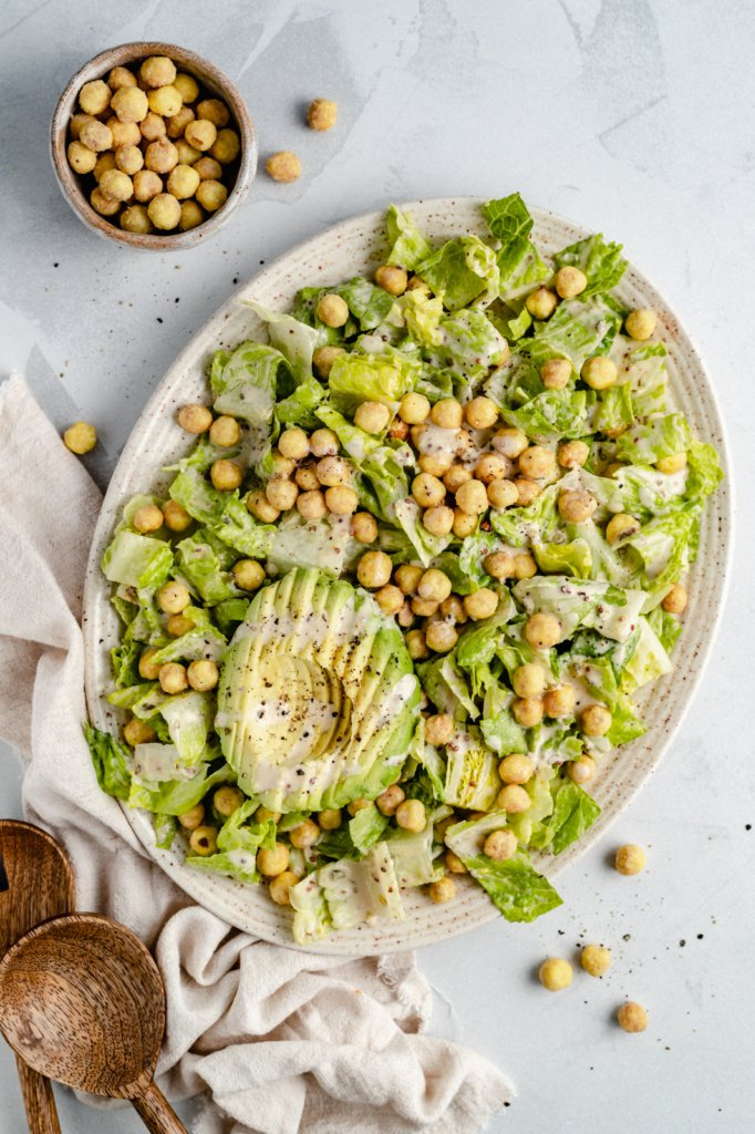 vegan caesar salad on a platter