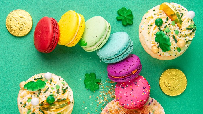 Follow the end of the rainbow to discover Trophy Cupcakes magically delicious macarons and cupcakes for St. Patricks Day.