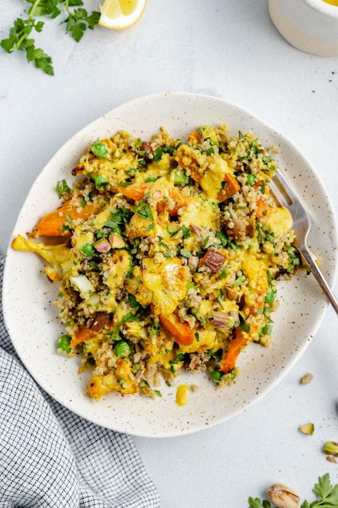 cauliflower quinoa salad on a plate