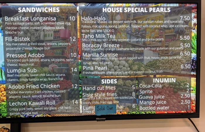 The short but sweet menu at Lasa.