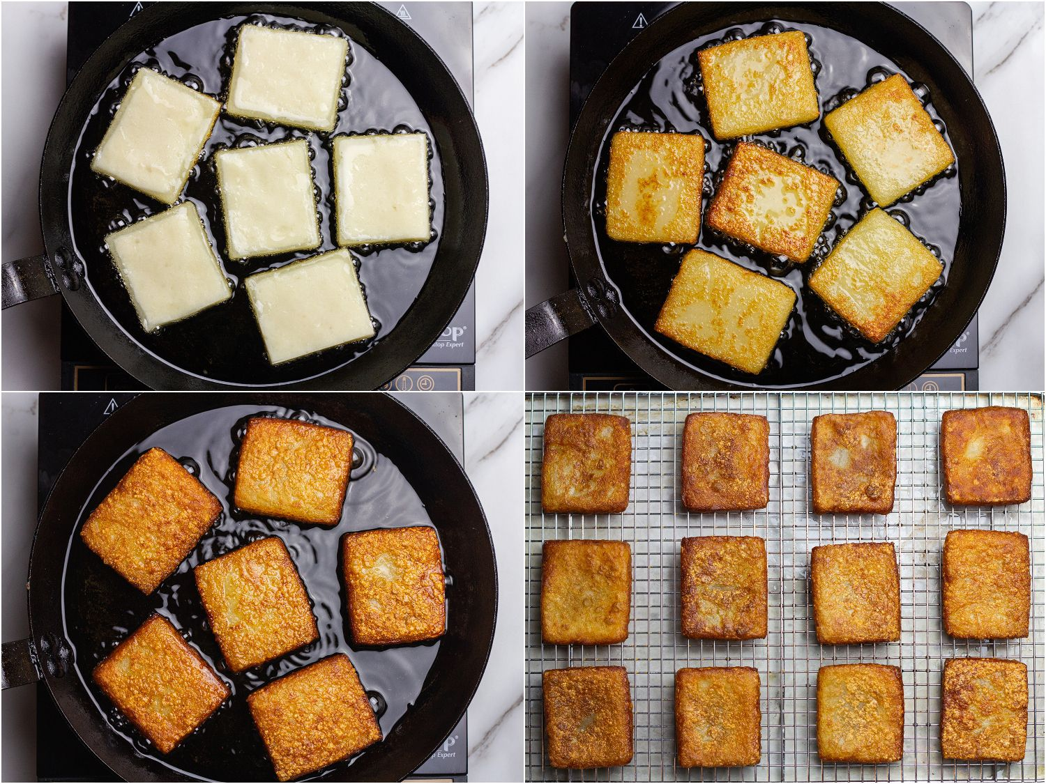 Collage showing steps of shallow frying potato mochi in a cast iron skillet