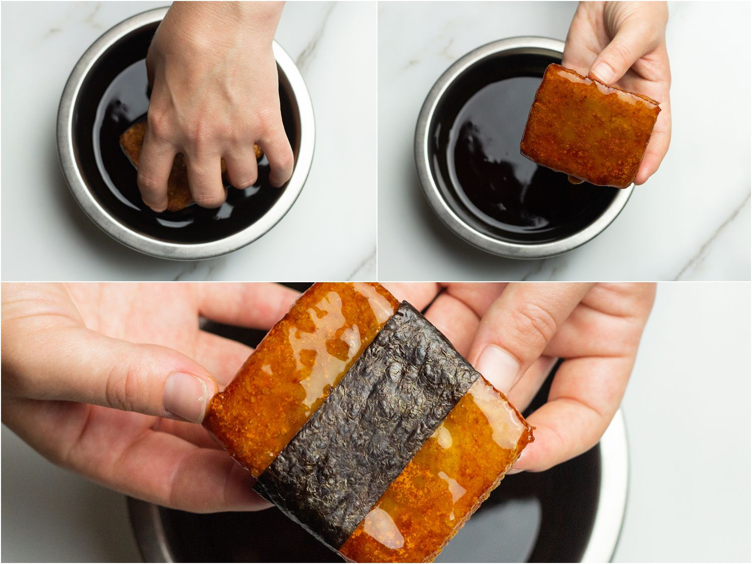 Collage showing steps of dipping potato mochi in soy glaze and then wrapping with nori strip