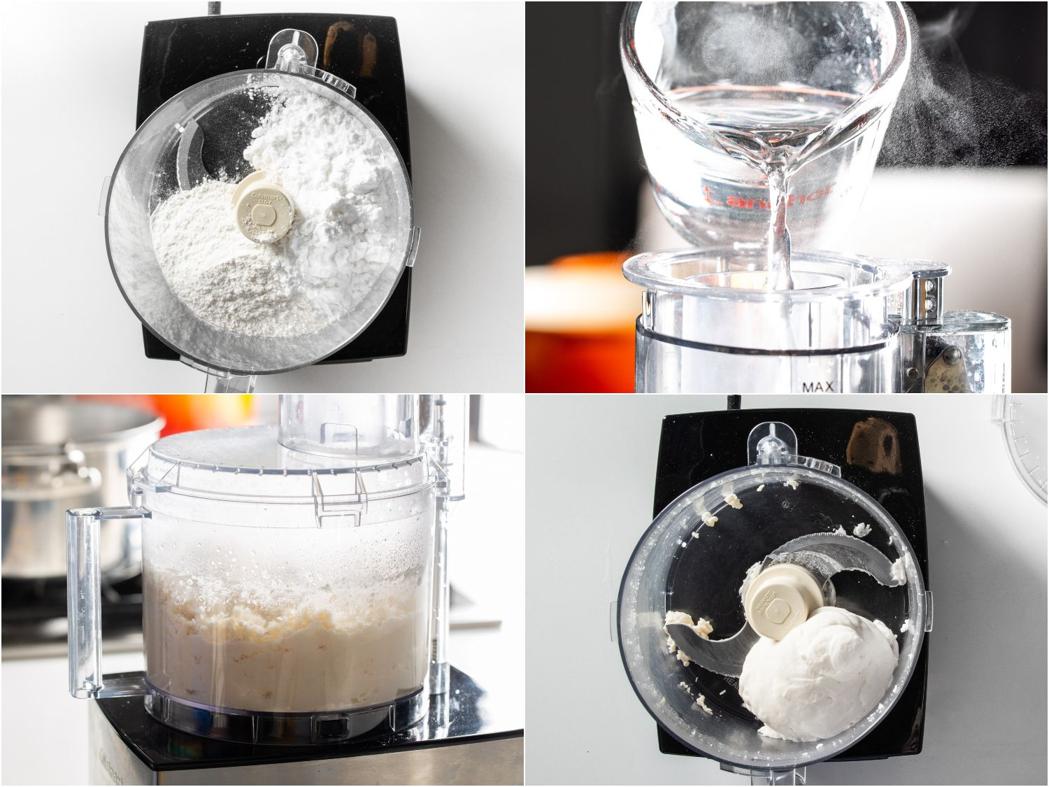 Collage of potato starch-wheat flour dough being made in food processor
