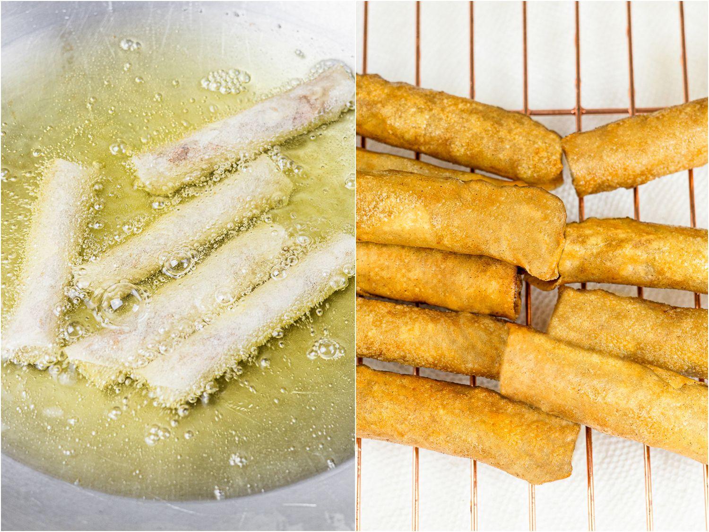 frying lumpiang shanghai