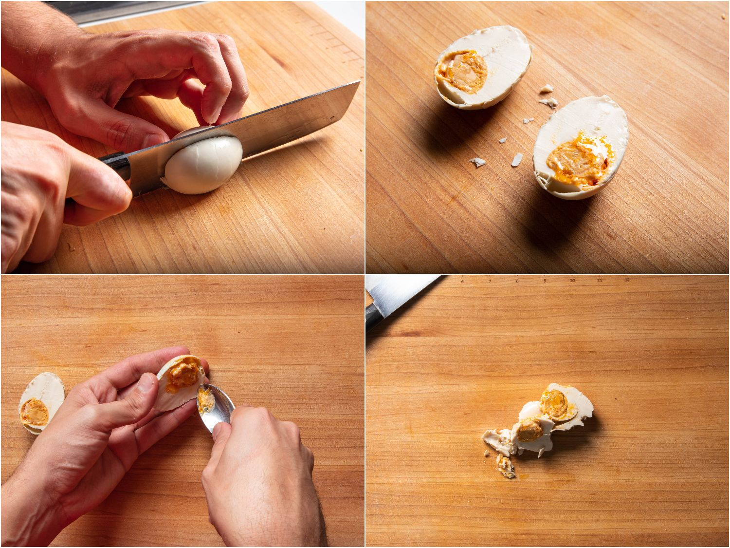 Halving salted duck egg and scooping egg out of the shell.